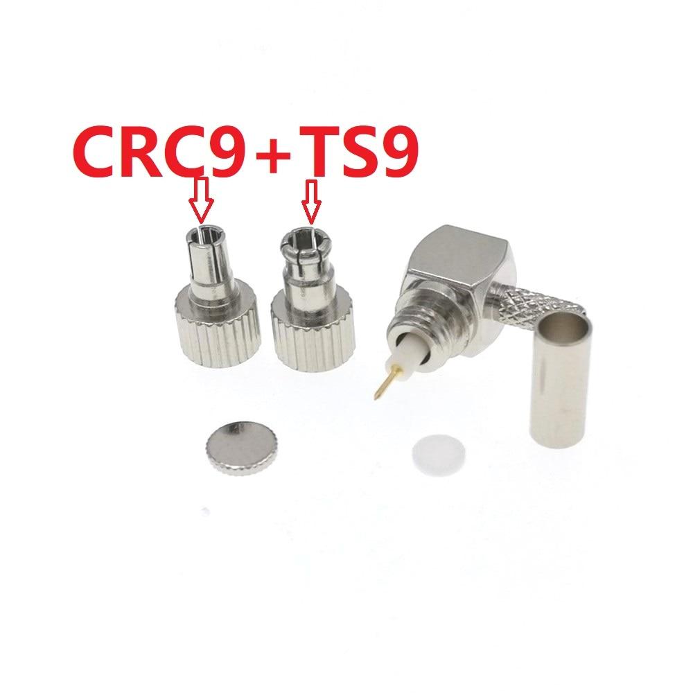 Crc9 macho + ts9 macho crimp ângulo direito para rg174 rg178 rg316 conector rf