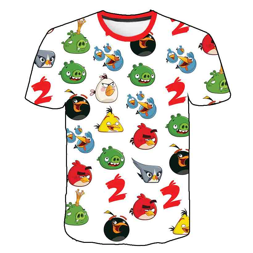 2020 new 3D printed angry bird movie men's fashion casual round neck short sleeve T-shirt summer personality streetwear tees top