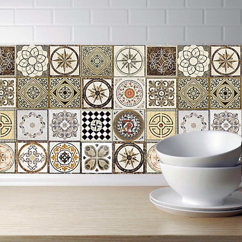 Tiles <font><b>Wall</b></font> <font><b>Stickers</b></font> <font><b>Retro</b></font> DIY PVC Waterproof Self adhesive <font><b>Wall</b></font> Decals Art Furniture Bathroom Kitchen Tile <font><b>Sticker</b></font> image