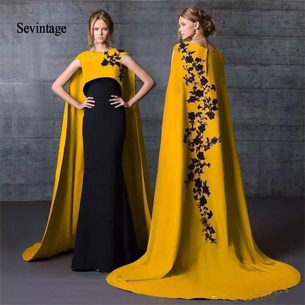 Sevintage Muslim Saudi Arabic Evening Dress Yelllow And Black Formal Prom Gowns With Cape 2020 Satin Lace Applique Women Wear
