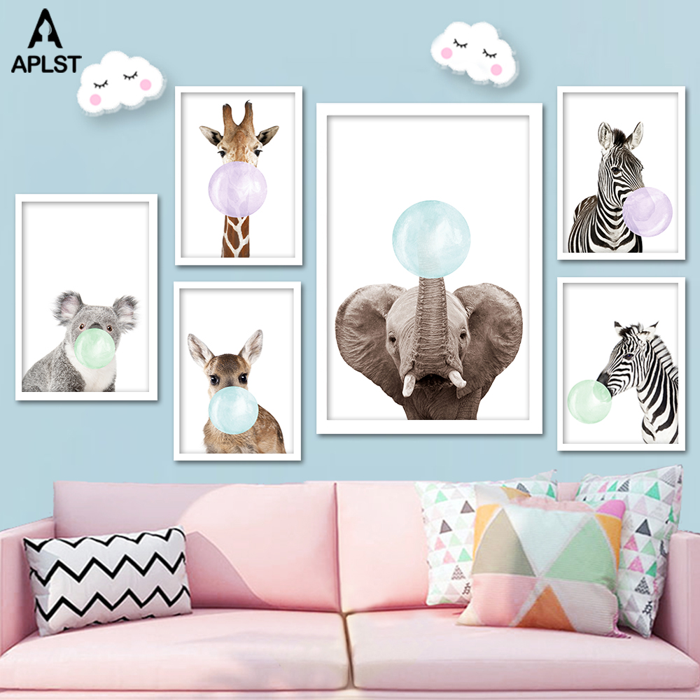 Baby Giraffe Zebra Elephant Colorful Bubble Gum Nursery Posters and Prints Animal Canvas Painting Wall Art Kids Bedroom Picture