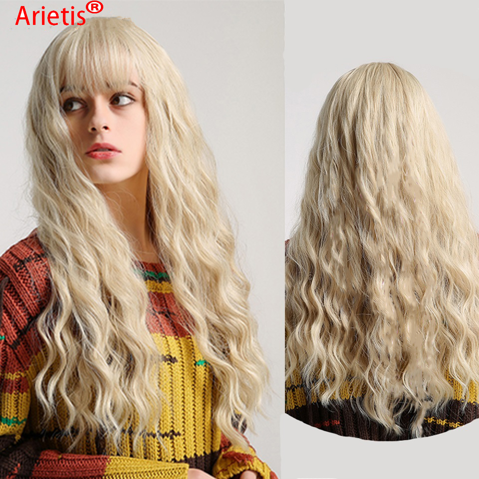 Malaysian 613 Body Wave 150% Density Full Machine Made No Glues Remy Human Hair Wig With Bangs For White Women In Arietis Hair