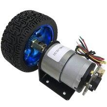 Codificador de corriente continua con Motor de CC, Motor de engranaje de alta velocidad de 7 a 1590RPM, velocidad ajustable Reversible con juego de ruedas, 6V, 12V