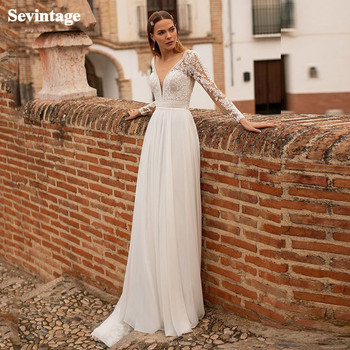 Sevintage Newest Long Sleeves Chiffon Boho Wedding Dresses Beach Deep V-Neck Buttons Wedding Gowns Plus Size Bridal Dress 2020 sevintage 2020 v neck chiffon boho wedding dresses lace applique garden beach bridal gowns split side bride dress vestidos
