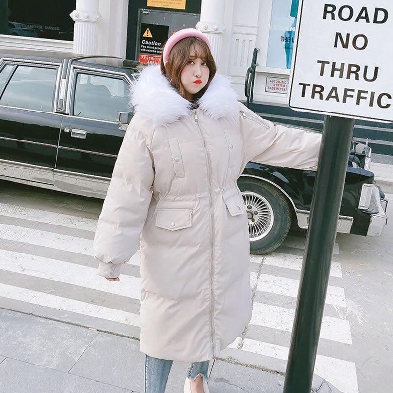 Черная/белая/розовая Зимняя куртка размера плюс, Женская длинная куртка с меховым воротником, большой размер, стеганая верхняя одежда, теплое пальто DZA027 - 4