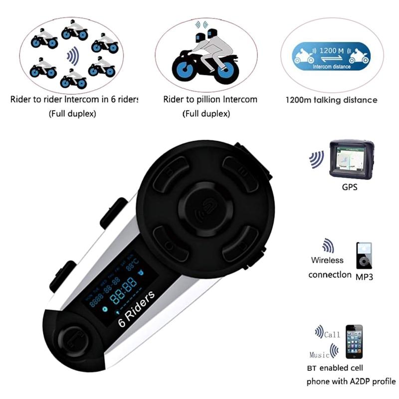 T20S 1200M 6 Riders BT Motorcycle Helmet Bluetooth Intercom Headset FM Radio MP3 GPS Full Duplex Waterproof Wireless W/ Screen M