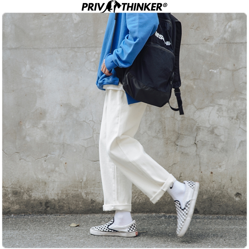 Privathinker Men Spring Straight White 2020 Full-length Pants Mens Casual Summer Sweatpants Male Korean Trousers Fashion Bottoms