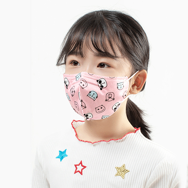 1Pc PM2.5 Children Mouth Mask Cartoon Patterned Face Mask 4 Layer filter Anti Haze Dust Mask Fits 2-13 Years Kids Flu Respirato 3