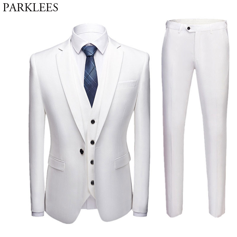 3pcs Men White Suit One Button Slim Fit Suits Blazer With Pants Business Wedding Groom Jacket Vest & Pants Costume Homme Mariage