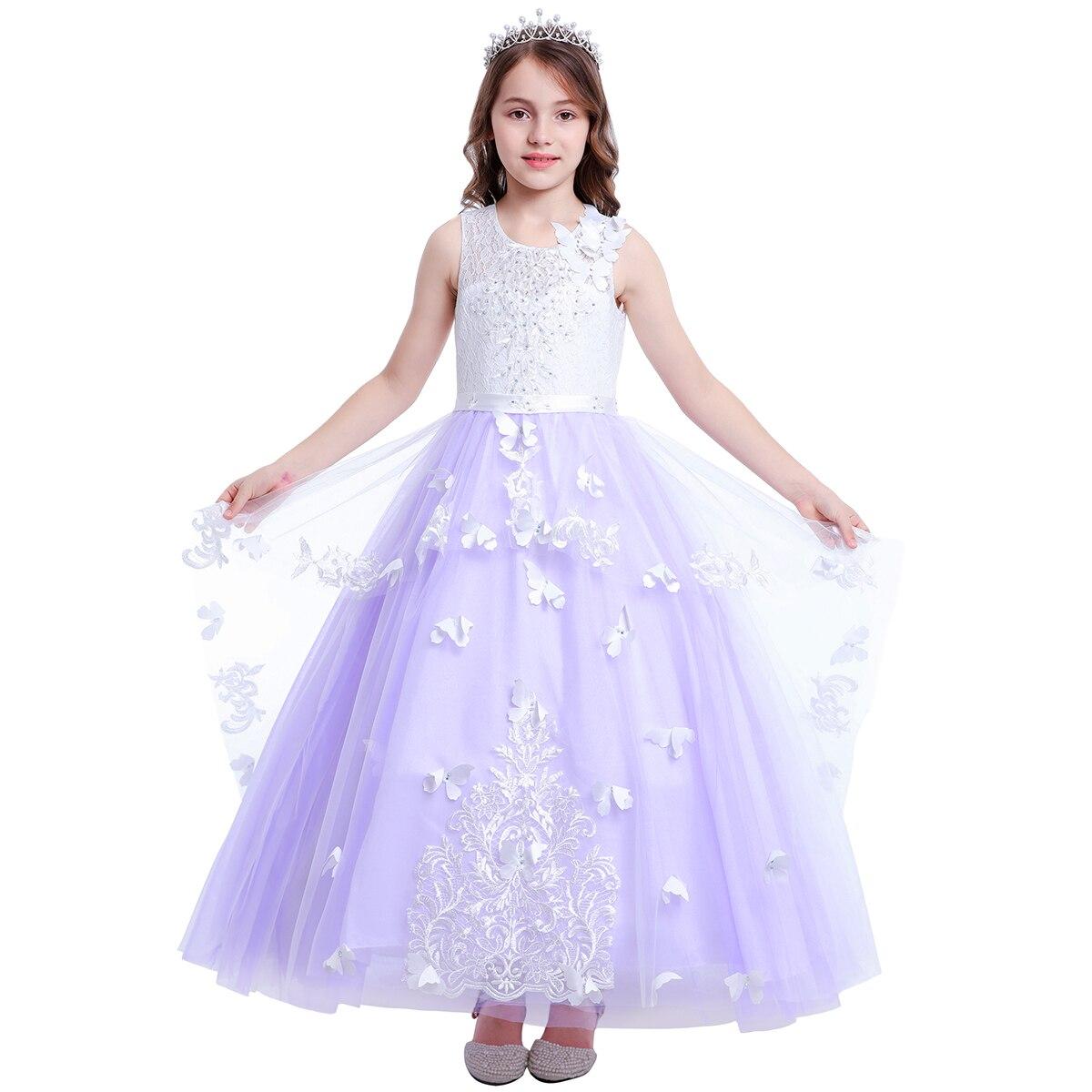 Robe de bal papillon robe élégante robe de princesse gonflée fleur filles robes de demoiselle d'honneur de mariage pour enfants robe de première Communion