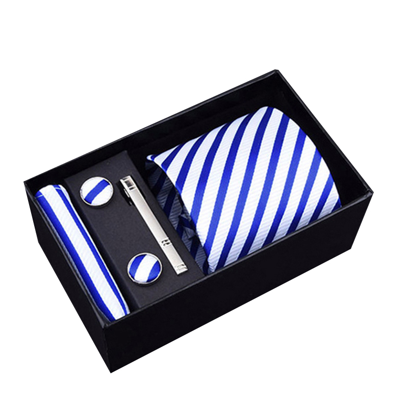 Classic  Male Men Blue Striped Tie   Paisley 100% Silk Classic Tie Hanky Cufflinks Set For Men Formal Wedding Party