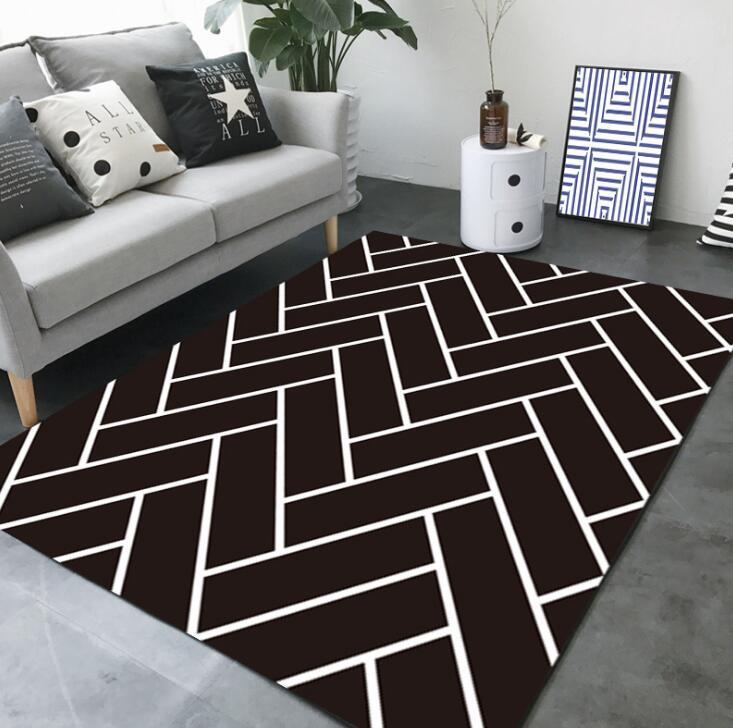 Large European Geometric Black And White Carpet Area Rug For Bedroom Livingroom Kitchen Baths Mat Door  Anti-Slip Home Carpet