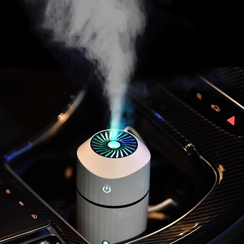 Humidificador difusor de aromaterapia con lámpara LED de niebla fría brillo ajustable niebla modo humidificador para coche Escritorio de oficina