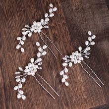 AiliBride 2 pcs Wedding Pearl Hair pins Hair Accessories Women Bridal Headpiece Handmade Hair Jewelry