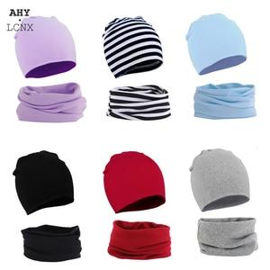 2 pçs chapéu de bebê cachecol conjunto cor sólida crianças gorro gorro quente menino menina primavera outono inverno chapéus infantil criança bonnet acessórios