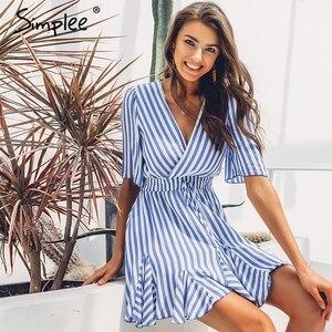 Image 4 - Simplee ヴィンテージストライプ女性のドレス v ネックフリル綿ショート夏ドレスプラスサイズのセクシーなカジュアル女性女性 vestido フェスタ 2019