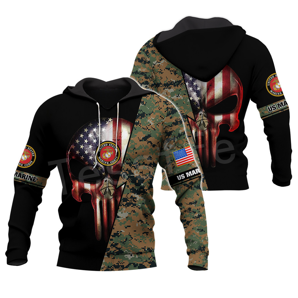 Tessffel America Marine Camo Skull Pullover Soldier Army NewFashion Harajuku 3DPrint Zip/Hoodie/Sweatshirt/Jacket/Men/Women B-7