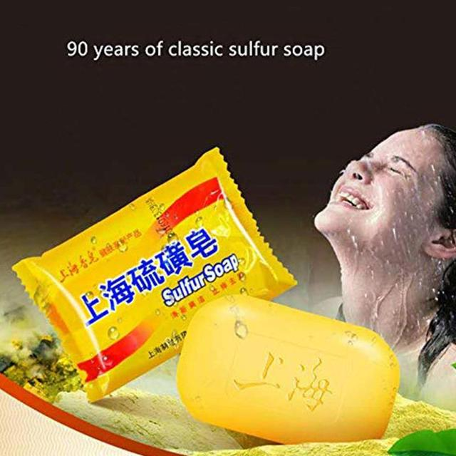 85g Shanghai Sulfur Soap Oil-control Acne Treatment Blackhead Remover Soap Chinese Traditional Anti Fungus Skin Care Soap 3