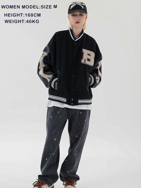 LACIBLE 2020SS Hip Hop Furry Bone Patchwork Color Block Jackets Mens Harajuku Streetwear Bomber Jacket Men Baseball Coats Unisex 5