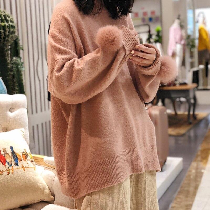 Новинка 2019, шерстяная меховая шаровая манжета, кашемировый свитер, женский свободный свитер средней длины с круглым вырезом, утолщенный Рож...