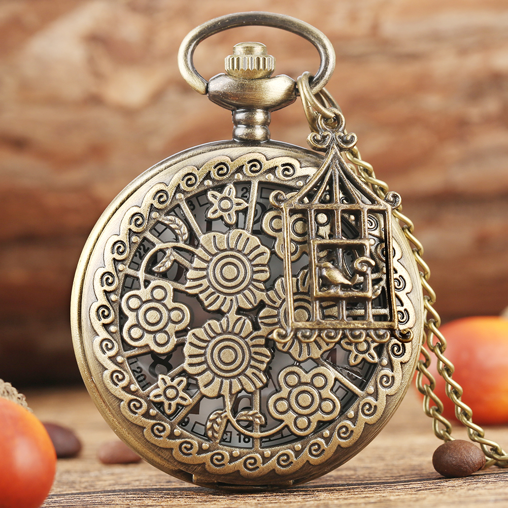 Bronze Blooming Flowers Hollow Pretty Necklace Quartz Pocket Watch Chain Old Fashion Pendant Clock Accessory Gifts For Men Women