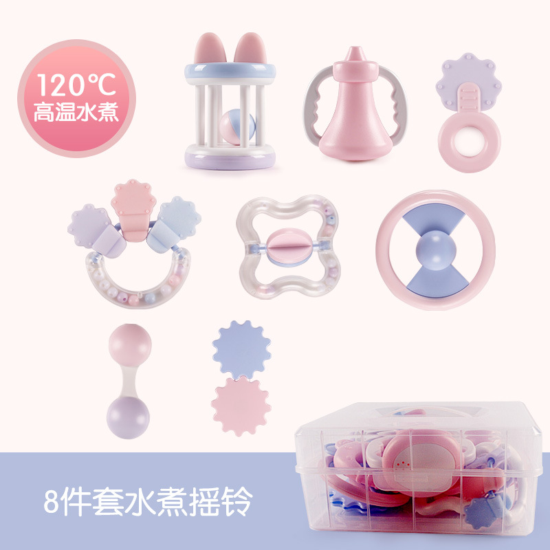 Zhi En Bao Infant Boiled Rattle Safe-Bite Variety Baby Teether Rattle With Storage Box 699-2
