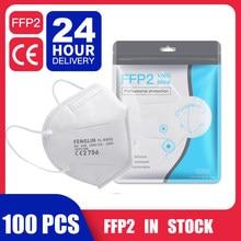 100 peças navio de espanha peça máscara facial ffp2 máscaras kn95 filtro máscara anti poeira máscara boca mascarillas mascherine