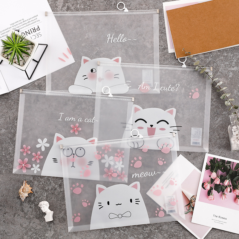 33x24.5cm Transparent  File Folder Bag White Color Cartoon Animal Pink Flower Document Organizer