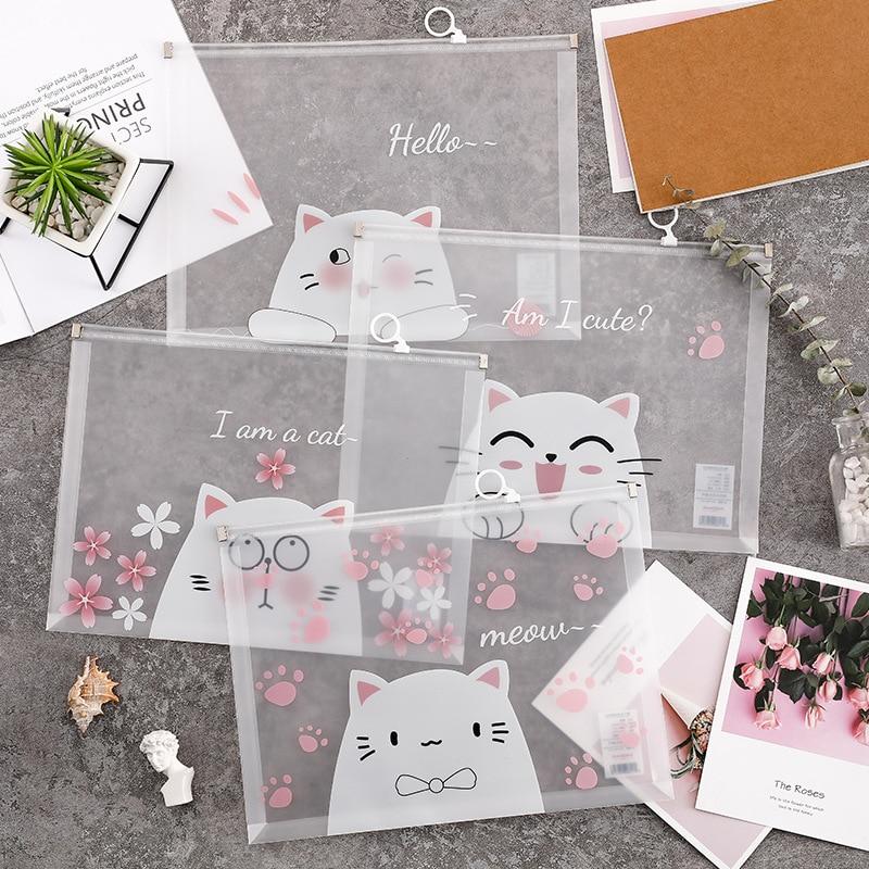33x24.5cm Transparent  File Folder Bag White Color Cartoon Animal Pink Flower Document Organizer