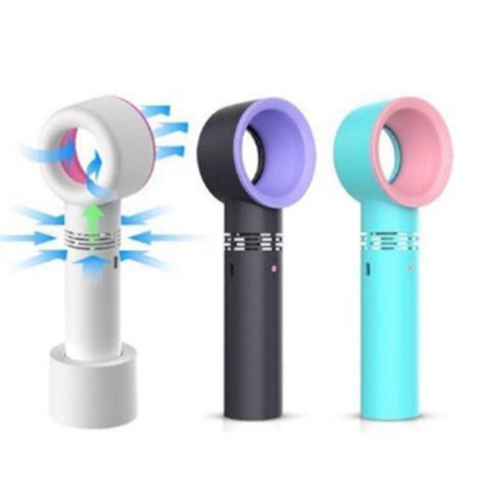 Zero 9 USB Rechargeable Portable Bladeless Fan Handheld Mini Cooler No Leaf Handy Fan With 3 Fan Speed Level LED Indicator