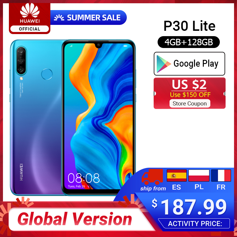 Globale version HUAWEI P30 Lite 4GB 128GB 6,15 Smartphone Globale Version zoll Kirin 710 Telefon Android 9,0 Handy