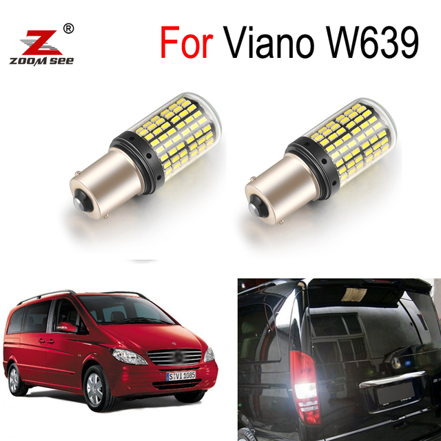 4pc White LED Exterior bulb + Reverse Back up lamp + Parking light Kit For Mercedes Benz Accessories for Viano W639 (2003 2015)