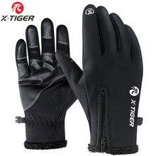 X-TIGER велосипедные перчатки с сенсорным экраном зимние теплые ветрозащитные перчатки для велоспорта водонепроницаемые велосипедные перчатки для мужчин и женщин