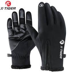 X-TIGER велосипедные перчатки с сенсорным экраном зимние теплые ветрозащитные перчатки для велоспорта водонепроницаемые велосипедные