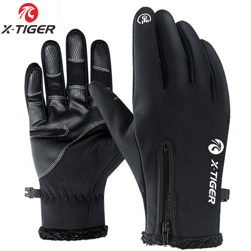 X-TIGER Touchscreen <font><b>Bike</b></font> Handschuhe <font><b>Winter</b></font> Thermische Winddicht Warme Voll Finger Radfahren Handschuhe Wasserdichte Fahrrad Handschuh Für Männer Frauen image