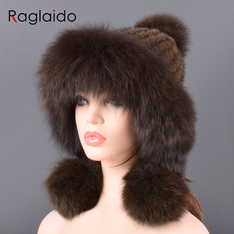 Bomber Hat Natural Mink Fur For Women Knitted Lining Hand-woven Fashion Warmth Pompom Winter Real Mink Fur Fox Fur Hats For Lady