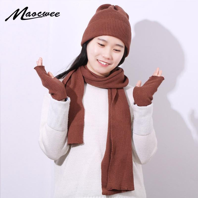 New Women Winter Rabbit Hairr Gloves Scarf Hat Three-Piece Set Fashion Female Knit Outdoor Warm Hat Caps Skullies Beanies Set