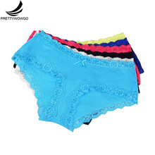 Prettywowgo 5 pcs/lot New Arrival Briefs 2019 Cotton Solid Color Lace Womens Underwear 6931