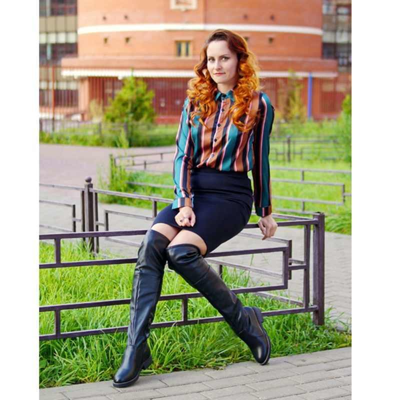 RIZABINA artı boyutu 34-43 2020 yeni kadın Flats çizmeler diz üzerinde çizmeler kış sıcak diz yüksek çizmeler seksi fermuar ayakkabı ayakkabı
