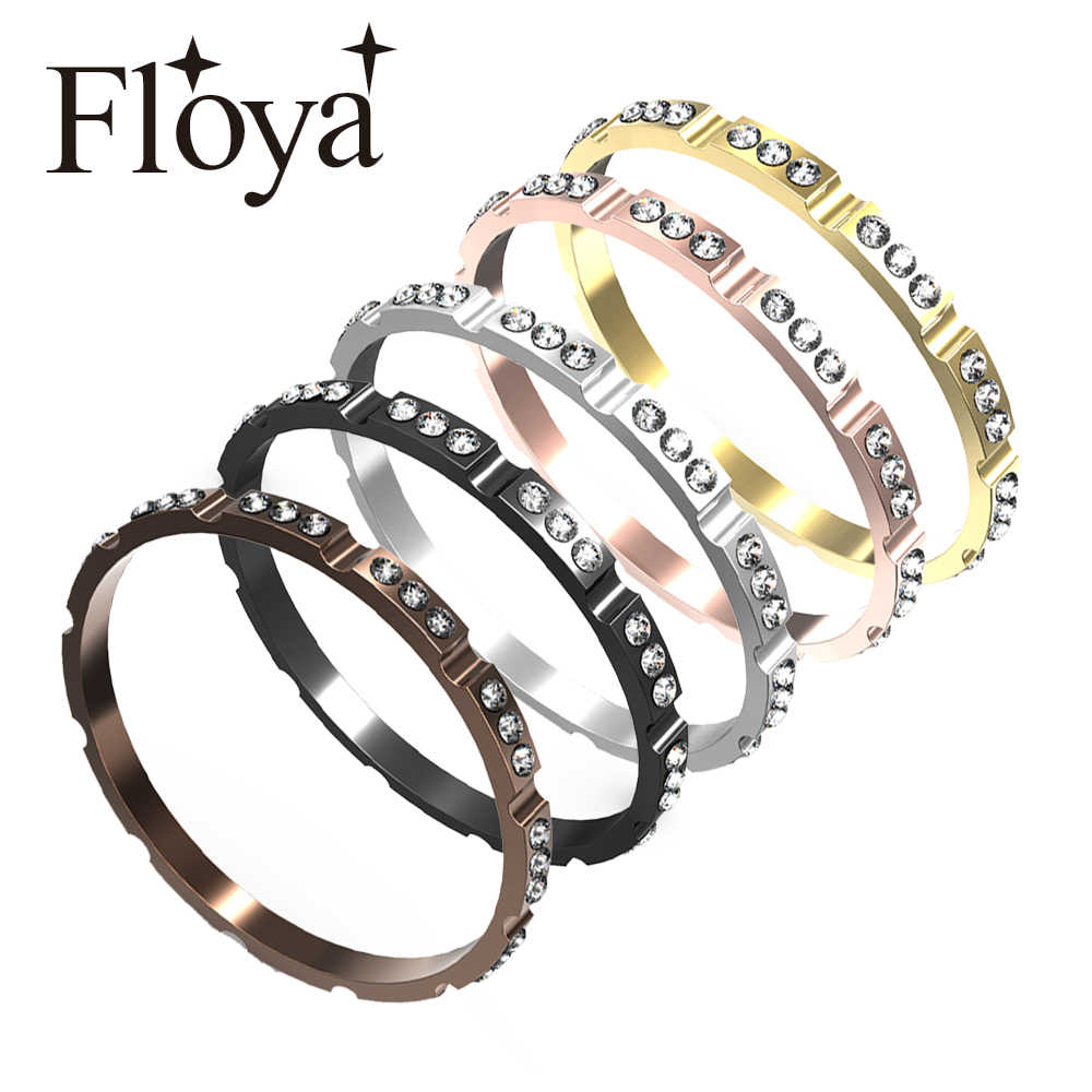 Floya Full Zircon Inner Filled anillos mujeres aluminio acero Inoxidable Base accesorios Black intercambiable Ring Bague Acier