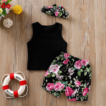 2020 Summer Newborn Baby Girl Clothes Sleeveless Letter Vest Tops Floral Print Shorts+Headbands 3Pcs Outfits Summer Clothes