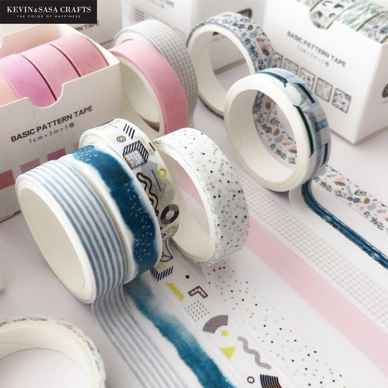 5pcs/set Printing Washi Tape Set Diy Masking Tape Cute Stickers School Suppliers Stationery Gift Presented By Kevin&Sasa Crafts 3