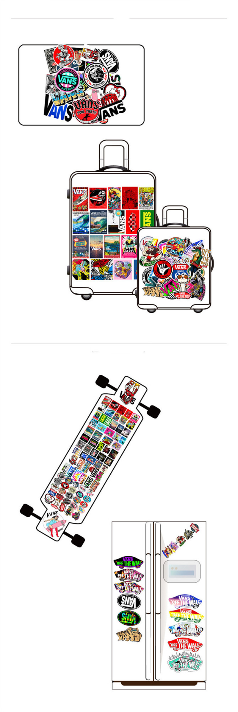 100 Pcslot Fashion Logo Vans Off The Wall PVC Stickers Kids Toys Decor for Car Laptop Pad Phone Trunk Guitar Bicycle Motor