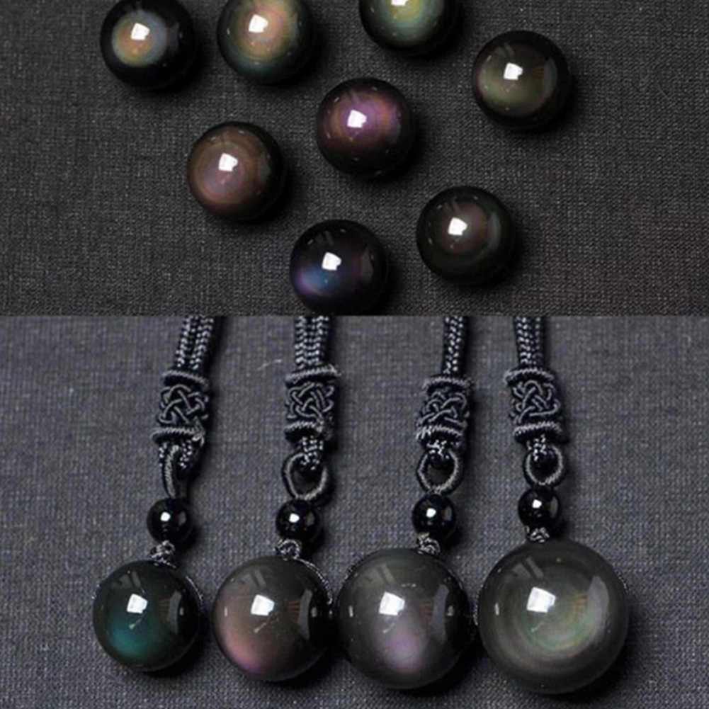 Chic Natural Obsidian Rainbow Eye Transfer Good Luck Bead Pendant Necklace Polyester Rope Chain Necklace Jewelry Unisex