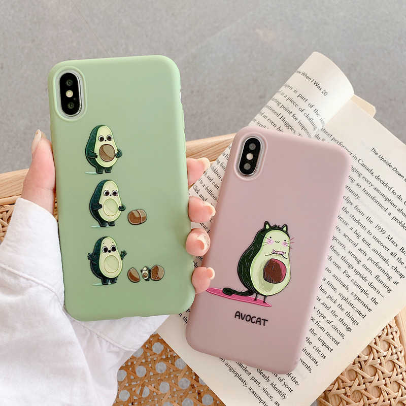 Leuke Cartoon Avocado Patroon Telefoon Case Voor Iphone Se 2020 11 Pro Max 11pro Xs Max Xr 6 S 8 7 6 Plus SE2 Soft Silicone Cover