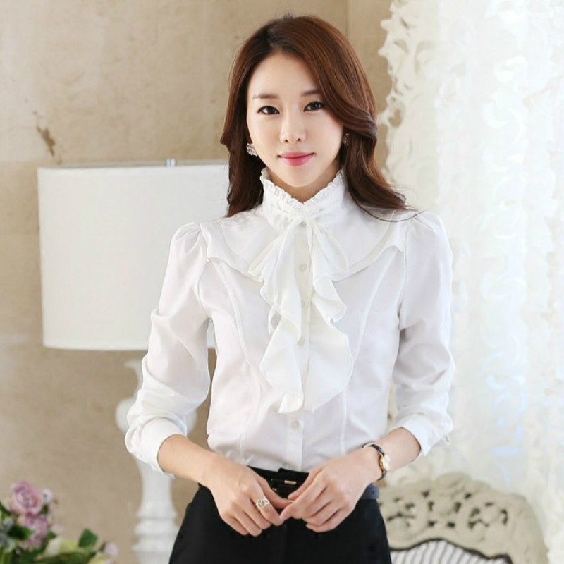 Fashion Design Women Chiffon White Blouses and Tops Long Sleeved Ruffles Stand Collar Autumn Winter 2021 Plus Size Shirts Female 5