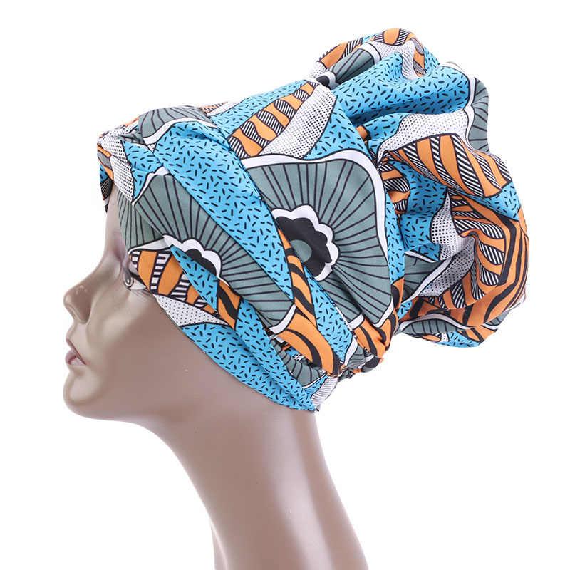 Nieuwe Extra Grote Satijn Bekleed Mutsen Hoed Afrikaanse Patroon Motorkap Met Lange Lint Headwrap Print Stof Ankara Haar Motorkap Hoed
