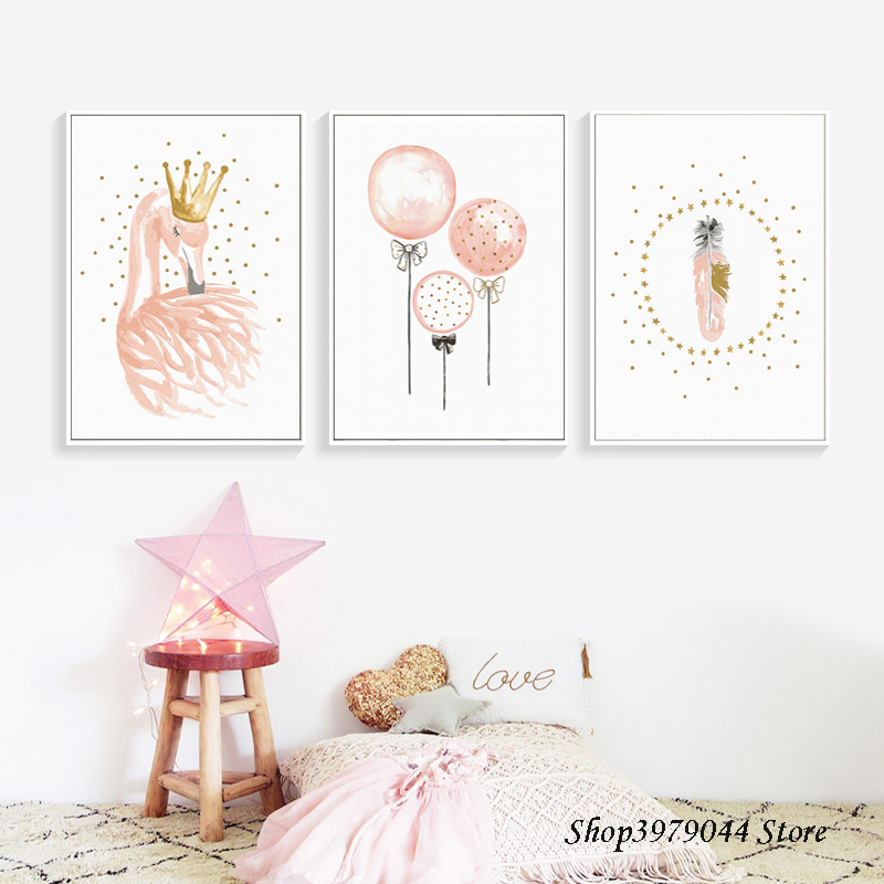 Swan Nordic Poster Nursery Canvas Painting Baby Poster Pink Balloon Posters And Prints Wall Picture For Girl Room Decor Unframed