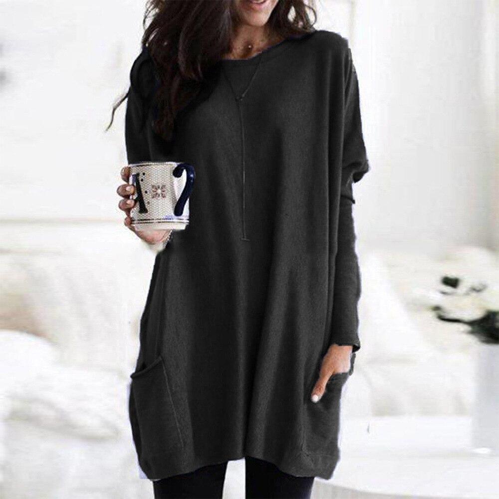 2021 большой Размеры повседневная женская футболка на весну с длинными рукавами и карманами, повседневный вязаный свитер свободного рубашка ...