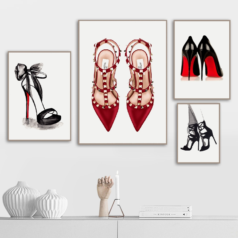 Fashion Brand Shoes Illustration Posters And Prints Vogue Pictures Modern Wall Art Canvas Painting Woman's Room Decor Girls Gift